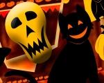 Black Cats Skulls Pumpkins